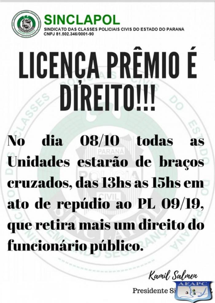 Dia 08/10 ato público em frente ao portão de acesso à Sexta Subdivisão Policial de Foz do Iguaçu, contra deliberações na Assembléia Legislativa do Paraná