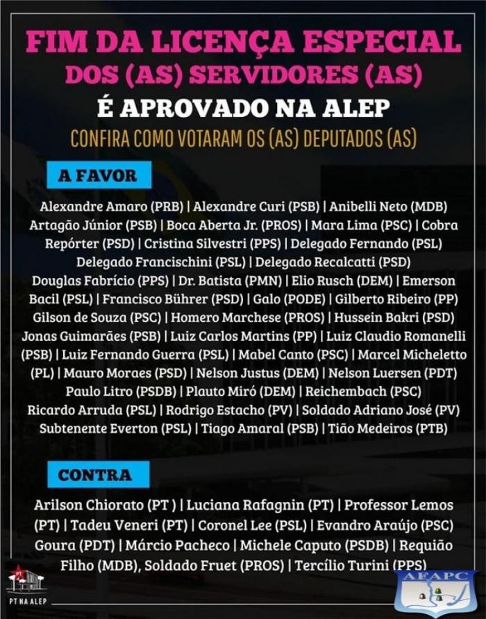 Fim da Licença Prêmio dos servidores é aprovado na ALEP!